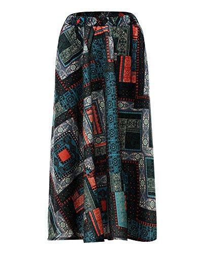 Retro Bohemian Line Maxi Littrature Et 4 Style Nouvelle Longue Couleur Plage Grand Robe Swing Art Fluide A Jupe Femme t Jupes Print Bqwgw5Y