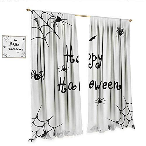 Spider Web Waterproof Window Curtain Happy Halloween Celebration Monochrome Hand Drawn Style Creepy Doodle Artwork Waterproof Window Curtain W96 x L96 Black White.jpg ()
