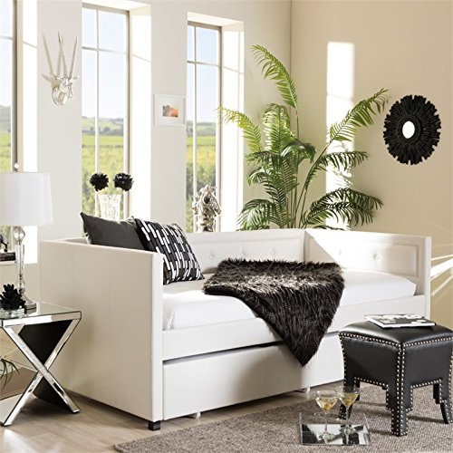 Baxton Studio Frank Faux Leather Twin Daybed in White ()