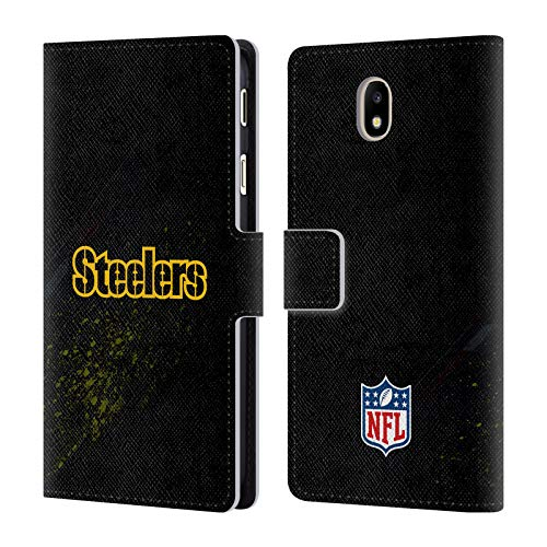 Official NFL Blur Pittsburgh Steelers Logo Leather Book Wallet Case Cover for Samsung Galaxy J7 2017 / Pro
