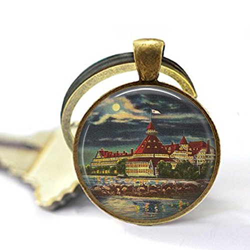 Coronado San Diego at Night - San Diego Keychain - San Diego California - San Diego Jewelry - Vintage Coronado California]()