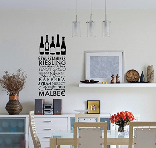 Monte Carlo Wine - YINGKAI Wine Title List with Wine Bottles Urban Quote Pattern Vinyl Carving Wall Decal Sticker for Schools, Bedrooms, Family Rooms Decor