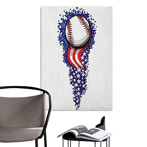 Jaydevn Scenery Wall Sticker Sports Stars and Stripes Fireworks Patriot Baseball Celebration Holiday Flag Graphic Purple Red White Mural Blackboard DIY White W32 x -