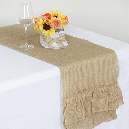BalsaCircle 14 x 108-Inch Natural Brown Burlap Ruffled Table Top Runner - Rustic Wedding Party Linens Decorations (Table Runner Ruffled)