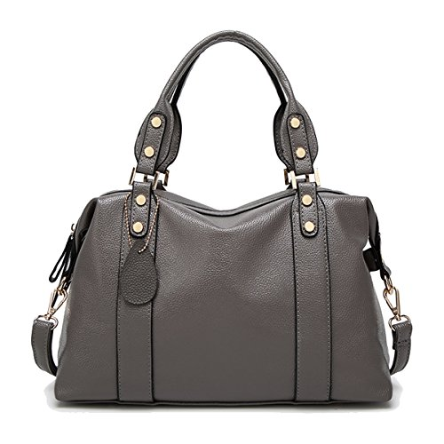 Coolives Women Soft Boston Top Handle Bag Gray