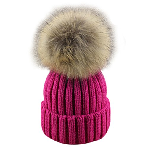Dikoaina Womens Girls Winter Knitted Fur Hat Real Large Fur Pom Pom Beanie Hats