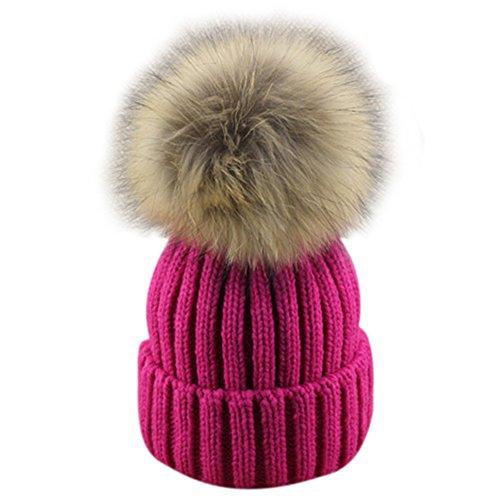 Dikoaina Womens Girls Winter Knitted Fur Hat Real Large Fur Pom Pom Beanie Hats
