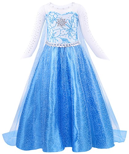 Cotrio Elsa Dress Toddler Dress Up Halloween Cosplay Princess Costume Girls Party Dresses with Detachable Cape Size 12 (150, 7-8Years) Dark Blue ()