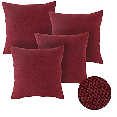 Deconovo Textural Faux Linen Home Decorative Hand Made Pillow Case Cushion Cover For Sectional, 18x18-inch, Dark Red, Set Of 4