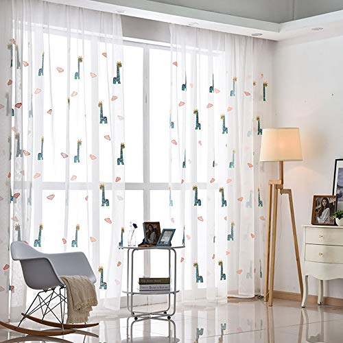 Sheer Window Curtain Panels for Living Room Country Rustic Embroidered Giraffe Rod Pocket Cartoon Window Treatment Drapes Gauze Voile Panels for Kids Boys Girls Bedroom 1 Panel AiFish W75 x L84 inch by AliFish (Image #1)