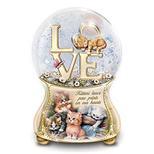 Jurgen Scholz Kittens Leave Pawprints On Our Hearts Hand-Painted Glitter Globe by The Bradford ()