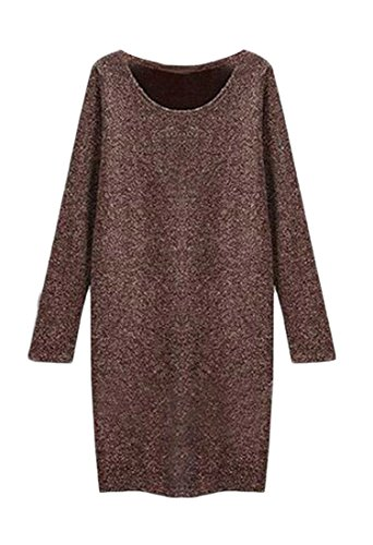 Color Round Jaycargogo Casual Coffee Mini Pullover Neck Tops Long Sleeve Women Solid Dress 44gYt6