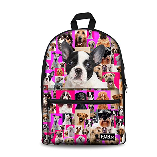 (FOR U DESIGNS 15 inch Canvas Backpack French Bulldog School Bags for Teens)
