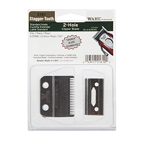 Wahl Professional Stagger-Tooth 2-Hole Clipper Blade #2161 - For the 5 Star Series Cordless Magic Clip - Includes Oil and - Clip Blade 5