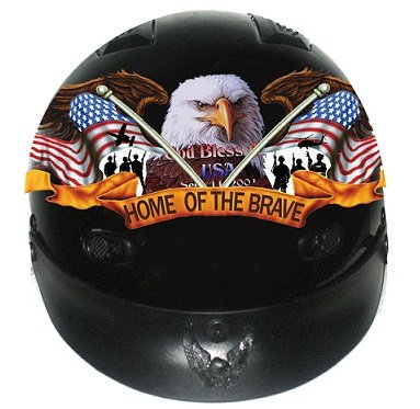 DOT Home of The Brave Vented Motorcycle Half Helmet (Size XL, X-Large)