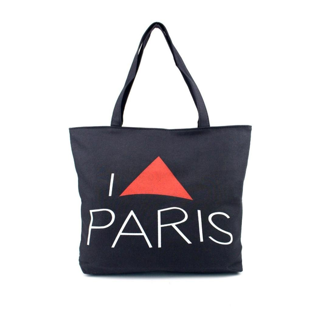 Women Paris Eiffel Tower Canvas Handbag Shopping Tote Bag