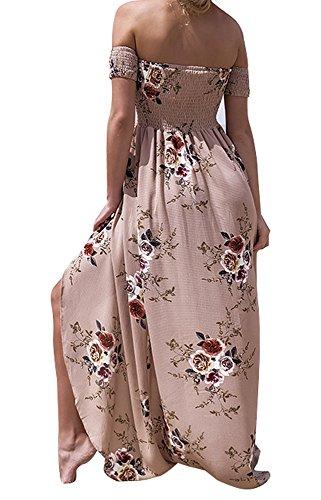 646985faa1d131 SVALIY Women Floral Off the Shoulder Split Chiffon Maxi Beach Dress Wedding  Party (Khaki,