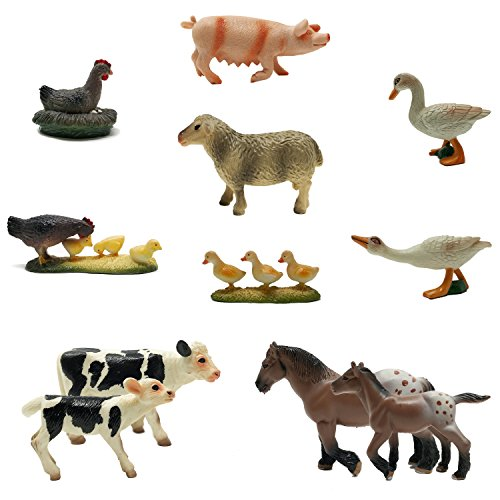 Farm Figurine - BOLEY (12-Piece) Farm Animal Playset - With Different Varieties of Realistic Looking Farm Animals and Baby Farm Animals - Figurines Ranging from Cows, Pigs, Sheep, Ducks, Geese, Horses, and Chickens