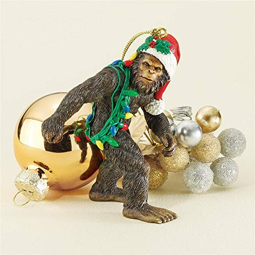 Design Toscano Bigfoot The Holiday Yeti with Santa Hat Funny Christmas Tree Ornament, 3 Inch, Polyresin, Full Color -