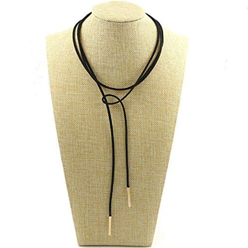 Black Z 1 Ribbon (Velvet Choker Necklace, Kredy Faux Leather Chain Necklace Long Adjustable Tassel Necklace with Gold Tube for Women Girls Teengirls)