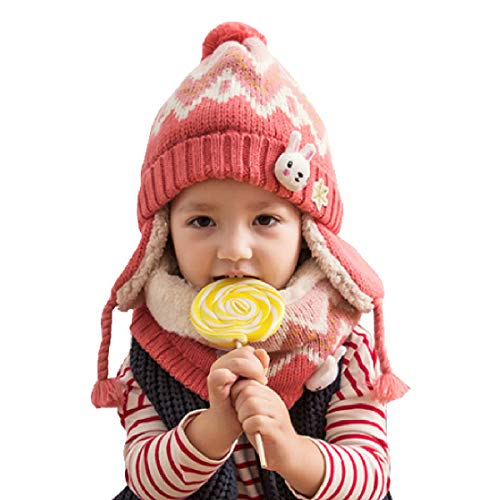TRIWONDER Kids Winter Knit Hat Scarf Set Warm Fleece Flap Cap Neck Warmer for Boys Girls Toddlers (Pink)