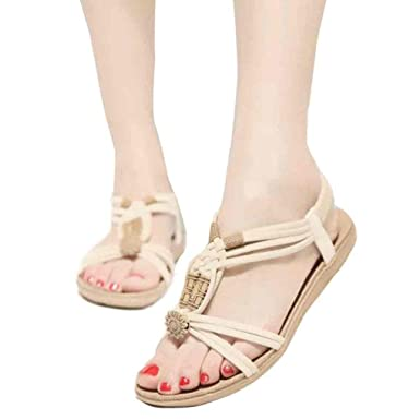 61ae5a6116d BSGSH Flats Sandals for Women Summer Bohemian Beach Gladiator Summer  T-Strap Elastic Slingback Flip