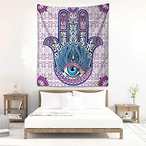Godves Decorative Tapestry Ornaments Purple Hamsa Decor Kabbalah Judaica Evil Eye Lucky Charm Chai Protection Stone Mystic Home Blessing Hand of Fatima Blue Tapestry for Home Decor 47