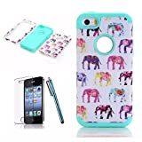 [iPhone 5C Phone Case] Lantier Elephant 3in1 Heavy Duty Painting Design Slim Fit Hybrid TUFF Impact Shockproof Case Hard Silicone Gel Cover for iPhone 5C with Screen Protector and Stylus Pen Mint Green