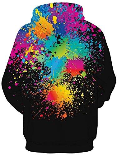 RAISEVERN Felpa con Cappuccio 3D Unisex Donna Felpa con Cappuccio Stampata Pullover Stampa Graffiti Nera con Tasche