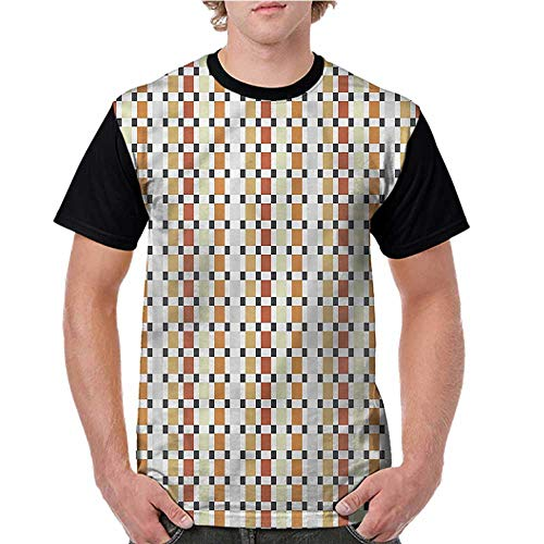 Men's Short Sleeve Shirts,Retro,Pastel Toned Rhombus Pattern S-XXL Tops for Lady ()