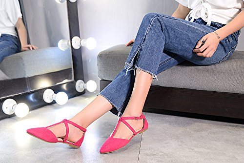 Wrap Strap T Flats Fashion New Purple Ankle Mila Toe Pointed Lady Laurel Womens D'Orsay RHwa8