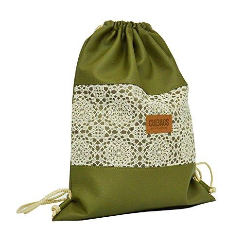 C-BAGS Sacco Styl Bolsa Bolsa de deporte bolsa de deporte bolsa mochila con certificado de piel, 7.2 navy 7.1 olive