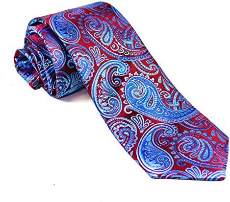 Burgundy and Aqua Paisley Silk Necktie Set by Paul Malone
