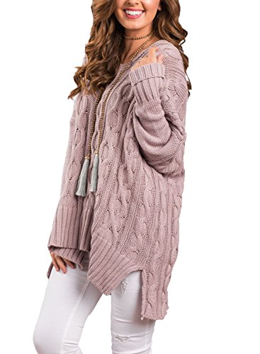 Sidefeel Women Casual V Neck Loose Fit Knit Sweater Pullover Top