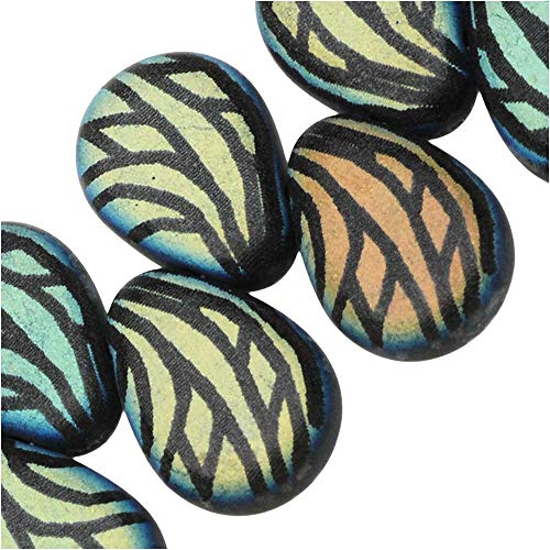 Czech Glass, Flat Pear Teardrop Beads with Laser Etched Wing Design 11x7.5mm, 30 Pieces, Jet Matte (Teardrop Laser Bead)