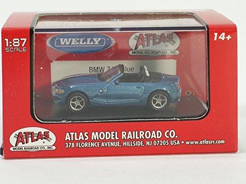 Atlas/Welly BMW Z4 Light Blue Ho Conv 1/87 Scale Diecast Car w/ Display case