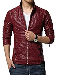 Idopy Men`s Casual Slim Fit Rider Trucker PU Faux Leather Jacket