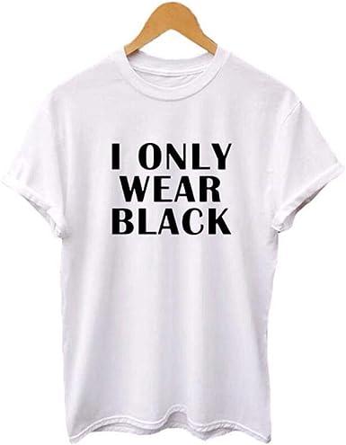 HAHAJY Use Solo la Camiseta Negra Hipster Diciendo Verano Camiseta de algodón Moda para Mujer Camiseta Negra Cartas Divertidas Impresión de Camiseta, Blanco, L: Amazon.es: Ropa y accesorios