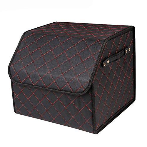Halova Car Trunk Storage Organizer  Premium Foldable Pu Leather Cargo Container  Portable Multi Function Trunk Organizer Storage Bin And Carrier For Car  Auto  Truck  Minivan Or Suv  Black  Small