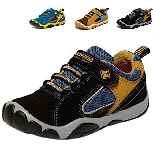 DADAWEN Boy's Girl's Leather Ventilator Casual Shoes Sneakers (Toddler/Little Kid/Big Kid) Black US Size 11 M Little Kid