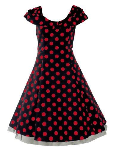 Tiger Milly - Robe Pour Femme Style Rétro Années 50 Motif Pois Polka Noir Rouge