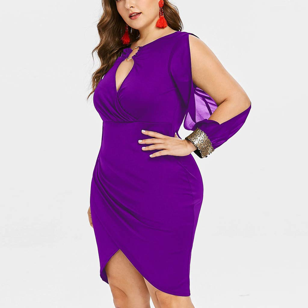 Hunzed Women【v Neck Plus Size Dress】 Womens Low Bust Ring Long Sleeve Slim Fit Dress