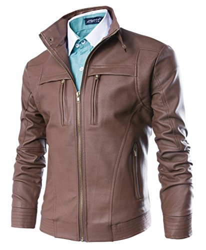 MR. R Men's PU Leather Motorcycle Jacket Brown 4XL (Tag)