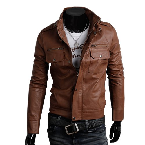 Zeagoo Fashion Men's Slim Top Designed Synthetic Leather Short Jacket Coat