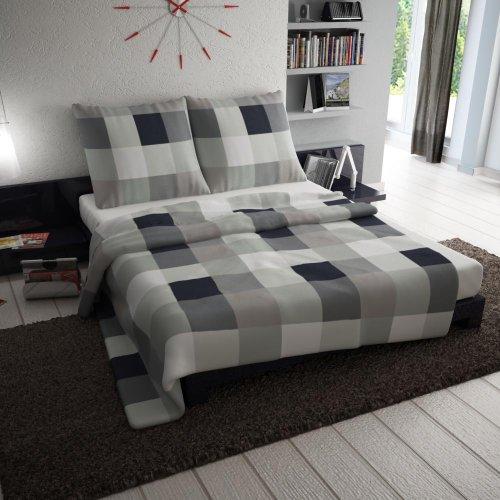 2 tlg. etérea Premium Baumwolle Bettwäsche Einzelbettgröße Rian Schwarz Anthrazit Grau Karo Kariert - 135x200 cm, 80x80 cm