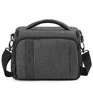 BAGSMART Compact Camera Shoulder Bag for SLR/DSLR with Waterproof Rain Cover, Grey