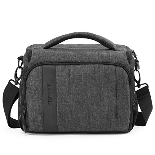 3 Large Slr Camera Bag - BAGSMART Compact Camera Shoulder Bag for SLR/DSLR with Waterproof Rain Cover, Grey