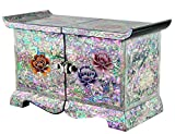 Jmcore Mother of Pearl Phony Flower Design Jewelry Box Display Nacre Handcrafted Jewellry Case 2 Colors (Black)