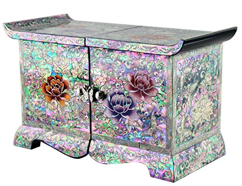 Jmcore Mother of Pearl Phony Flower Design Jewelry Box Display Nacre Handcrafted Jewellry Case 2 Colors (Black) by JMcore Jewelry Box