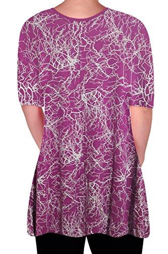T Chemisier Delta Tunique Swing top V vas EyeCatch en Imprimer Shirt Squiggle col Mesdames Femmes Magenta ffxqUSP